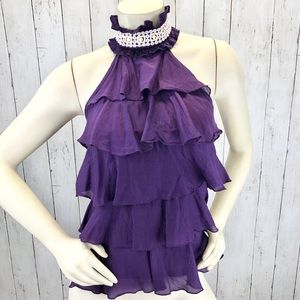 Bebe Purple Choker Halter Silk Top Sz XS